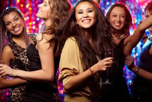 Girls having fun at club tonight