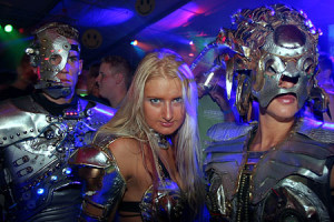 Disco party robot act themafeest personeelsfeest